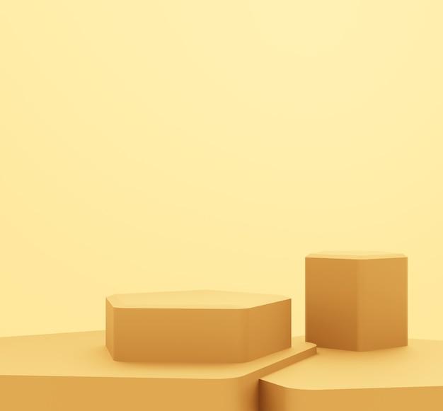 空の金の表彰台の抽象的な最小限の背景の3dレンダリング。