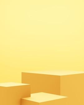 빈 금 연단 추상 최소한의 배경의 3d 렌더링.