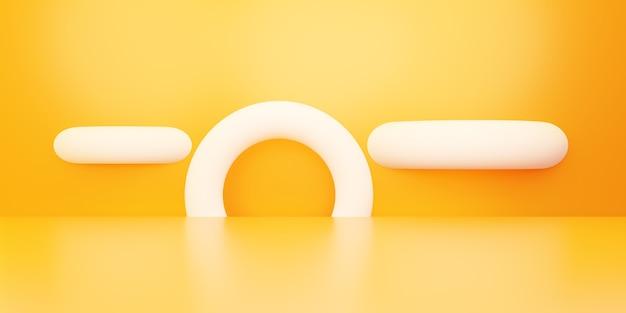 空のオレンジ色の抽象的な幾何学的な最小限の概念の背景の3dレンダリング広告のシーン
