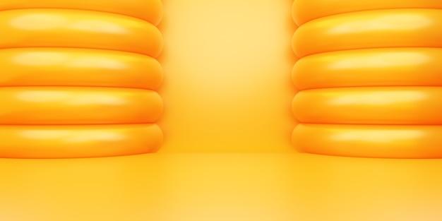 空のオレンジゴールドの抽象的な幾何学的な最小限の概念の背景広告の3dレンダリング