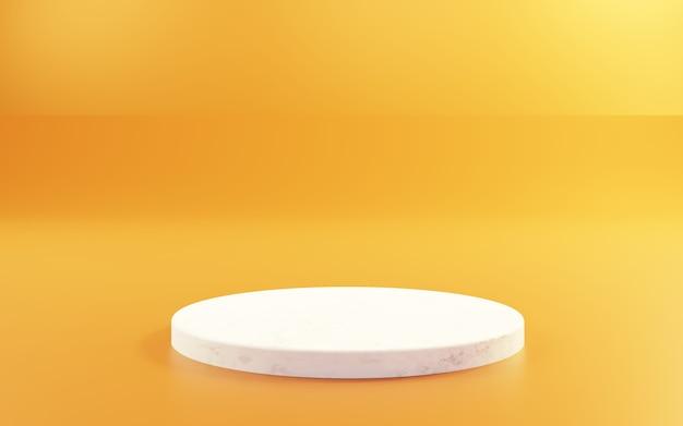 空の表彰台と金の3dレンダリング抽象的な最小限の概念の背景広告のシーン