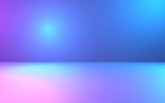 빈 보라색과 파란색 추상적 인 기하학적 배경의 3d 렌더링