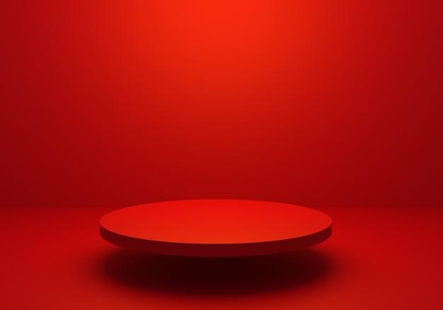 表彰台と空の赤い抽象的な最小限の背景の3dレンダリング。