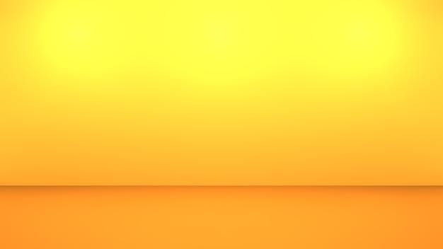 빈 노란색 오렌지 추상 최소한의 배경의 3d 렌더링. 광고 디자인 장면