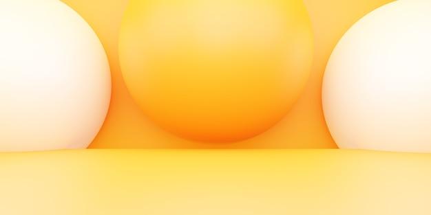 広告デザインのための空の黄色オレンジ色の抽象的な最小限の背景シーンの3dレンダリング