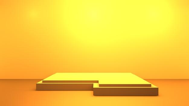 연단과 빈 노란색 오렌지 추상 최소한의 배경의 3d 렌더링