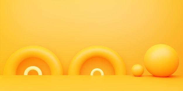空の黄色オレンジ色の抽象的な最小限の背景の 3 d レンダリング
