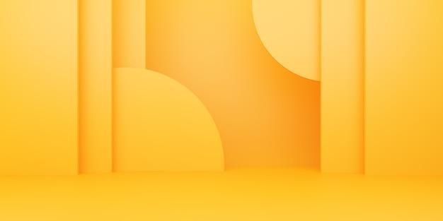 空の黄色オレンジ色の抽象的な最小限の背景の3dレンダリング