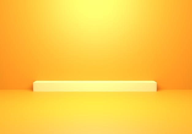 3d-рендеринг пустого желтого оранжевого абстрактного минимального фона концепции