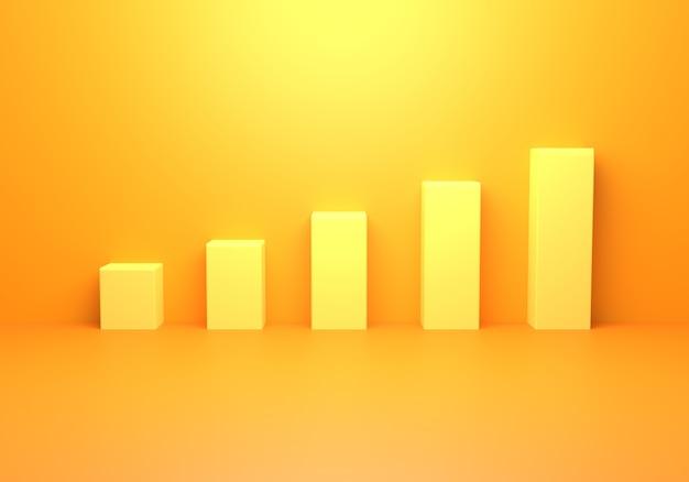 空の黄橙色の抽象的なミニマルの3dレンダリング