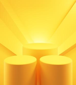 3d-рендеринг пустого желтого оранжевого подиума абстрактный минимальный фон рекламный дизайн
