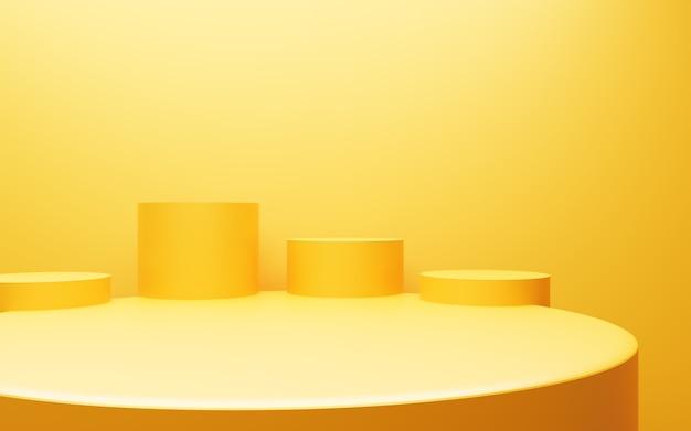 空の黄色オレンジ色の表彰台の3dレンダリングは、広告デザインの最小限の背景シーンを抽象化します