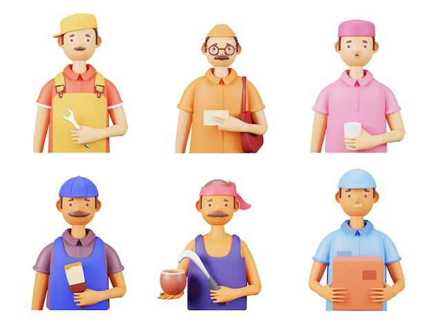 白い背景の上のメカニック、郵便配達員、画家、ワードボーイ、ココナッツ、ジュースの売り手として不可欠な労働者の3dレンダリング。