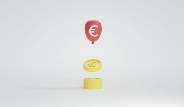 ユーロの黄色いコインを背景に分離されたユーロの赤い風船の3dレンダリング