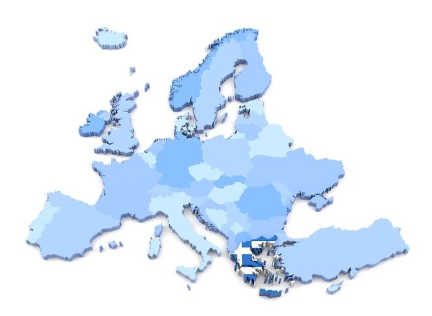 플래그와 함께 유럽 지도, 그리스의 3d 렌더링