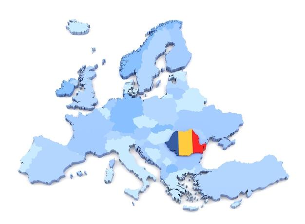 플래그와 함께 유럽 지도, 루마니아의 3d 렌더링