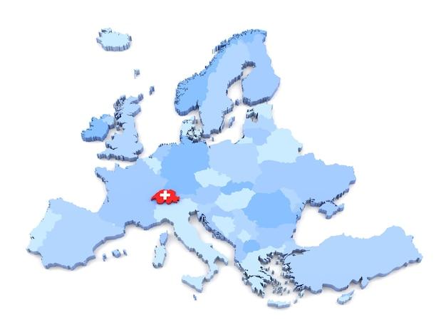 플래그와 함께 유럽 지도, 스위스의 3d 렌더링