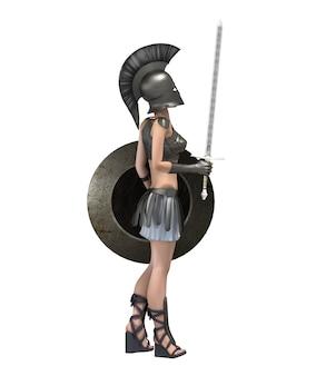3d визуализация женского персонажа-воина