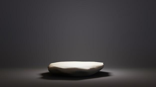 평평한 돌과 검은색 배경의 3d 렌더링. 쇼 제품을 위해. 빈 장면 쇼케이스 모형.