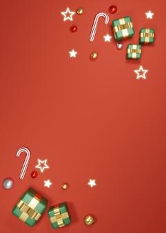 クリスマスバナーテンプレートの背景コンセプトの皮剥ぎのギフトボックスと要素の3dレンダリング