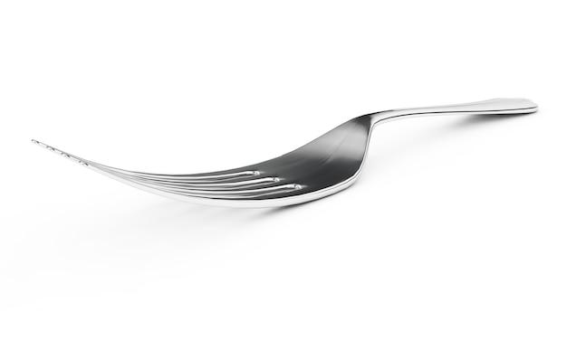 白い背景の上のフォークの3dレンダリング