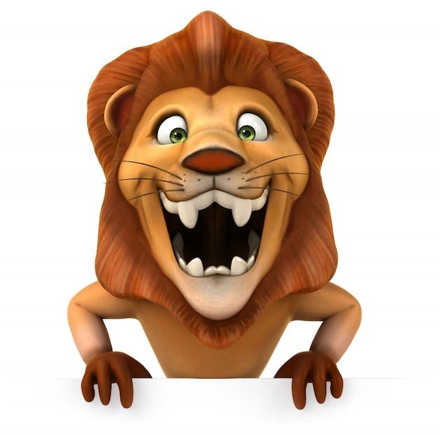 面白いライオンの3dレンダリング