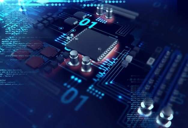 미래의 블루 회로 보드의 3d 렌더링