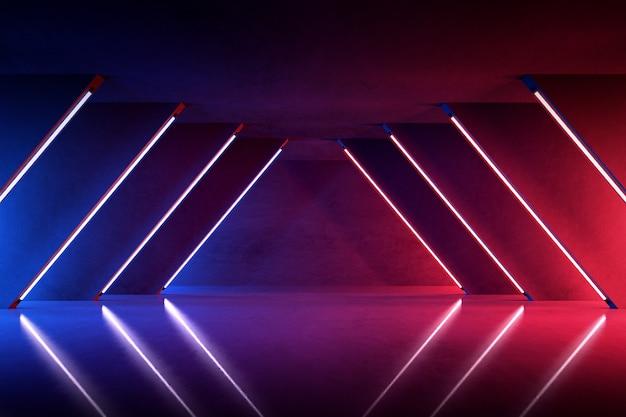 콘크리트 방, 공상 과학 공간, 미래 배경에서 미래의 빛나는 네온 불빛의 3d 렌더링.