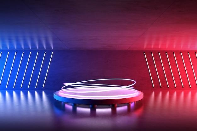 콘크리트 방에서 미래의 빛나는 네온 불빛의 3d 렌더링, 둥근 연단이 있는 공상 과학 공간, 미래 배경.