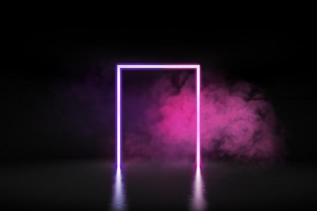 미래의 빛나는 네온 불빛을 정사각형 모양으로 3d 렌더링하고 콘크리트 바닥에 연기를 내뿜습니다.