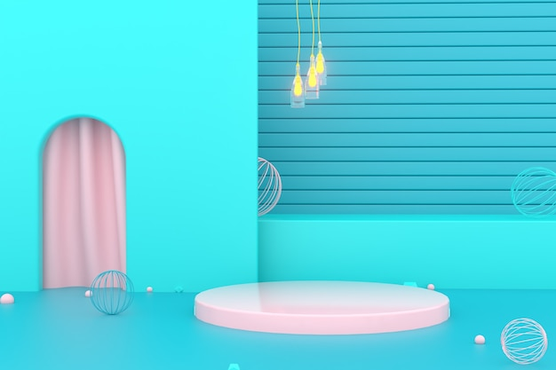 디스플레이를 모의에 대한 원형 연단과 기하학적 추상 파란색 배경의 3d 렌더링