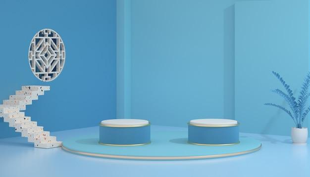 3d-рендеринг геометрического абстрактного синего фона с двойным подиумом для макета дисплея
