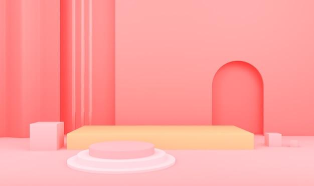 연단과 기하학적 추상 분홍색 배경의 3d 렌더링