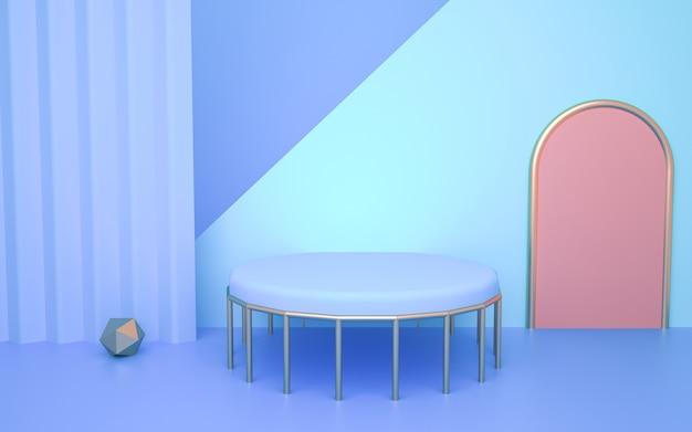 디스플레이를 모의에 대한 원 테이블과 기하학적 모양 배경의 3d 렌더링