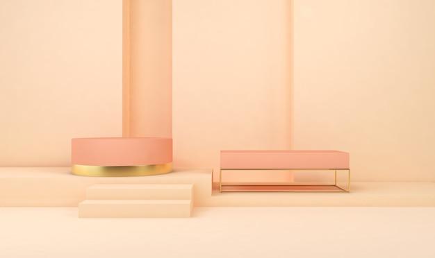 제품 표시를위한 황금 연단과 기하학적 모양 배경의 3d 렌더링