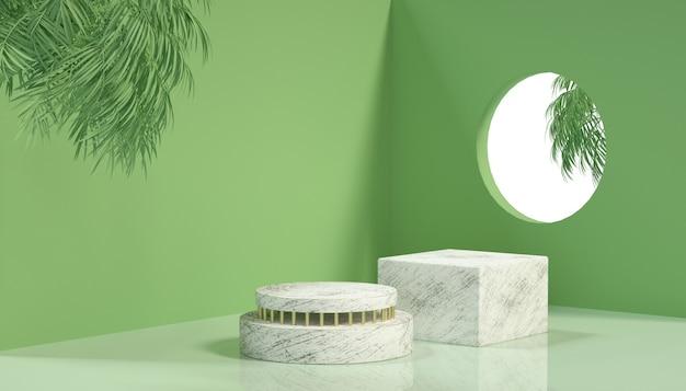 제품 표시를위한 기하학적 무대 배경의 3d 렌더링