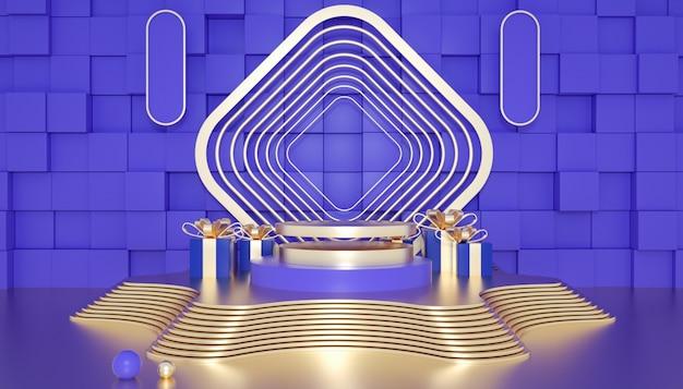 제품 표시를위한 황금 받침대가있는 기하학적 무대 배경의 3d 렌더링