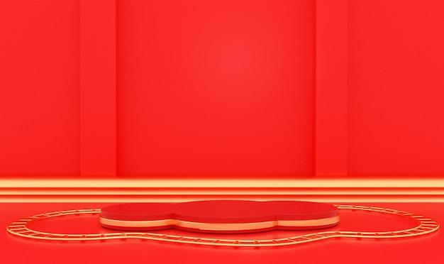 제품 표시를위한 황금 연단과 기하학적 무대 배경의 3d 렌더링