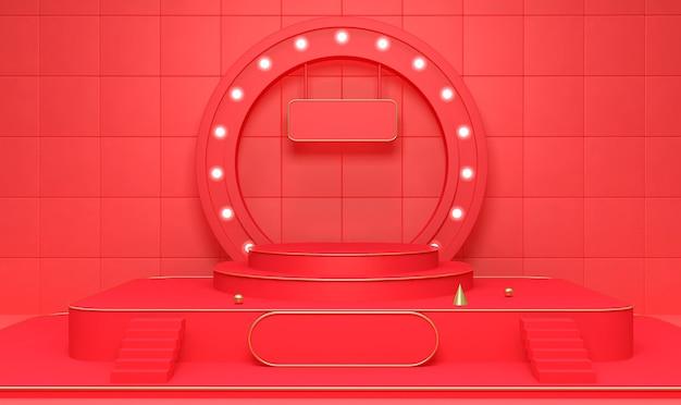 제품 표시를위한 연단과 기하학적 무대 배경의 3d 렌더링