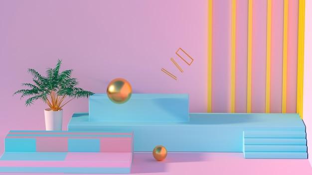 製品ディスプレイ用の青い表彰台を備えた幾何学的な3dレンダリング