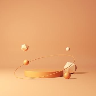3d-рендеринг геометрического подиума на оранжевом фоне
