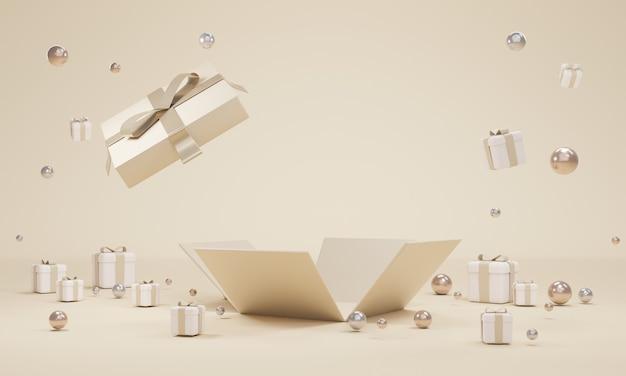 ギフトボックスのオープンエクスプロージョンの3dレンダリングでは、商業デザインの背景に空白のバウチャーが表示されます。 3dレンダリング。 3dイラスト。