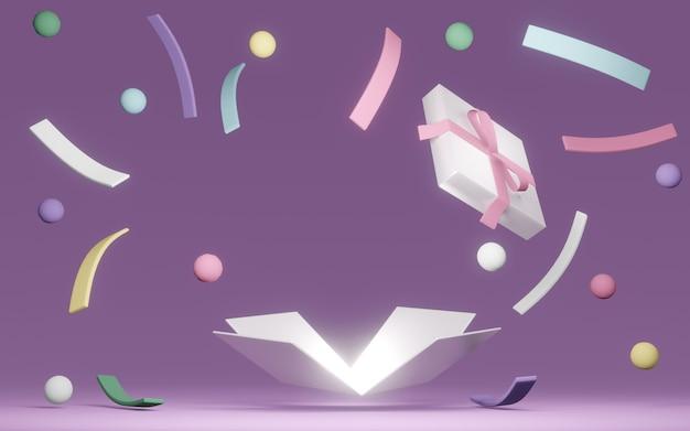 ギフトボックスを開いて3dレンダリングすると、背景にパステルカラーの爆発紙吹雪が付いたバルコニースペースが表示されます。 3dレンダリング。 3dイラスト。