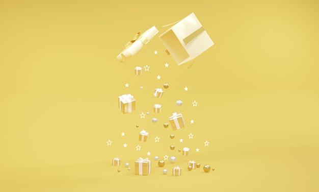 배경에 노란색 테마에 떨어지는 선물이 있는 선물 상자의 3d 렌더링. 3d 렌더. 3d 그림입니다.