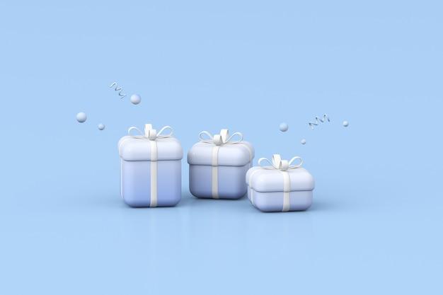 파란색 배경에 선물 상자의 3d 렌더링입니다.