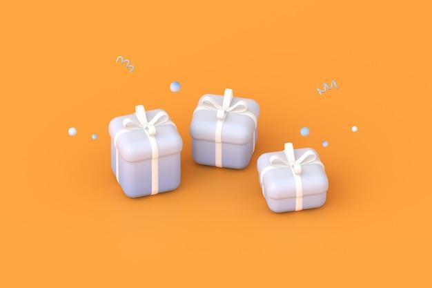 오렌지 배경에 선물 상자의 3d 렌더링입니다.