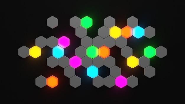 壁に輝く六角形の3dレンダリング