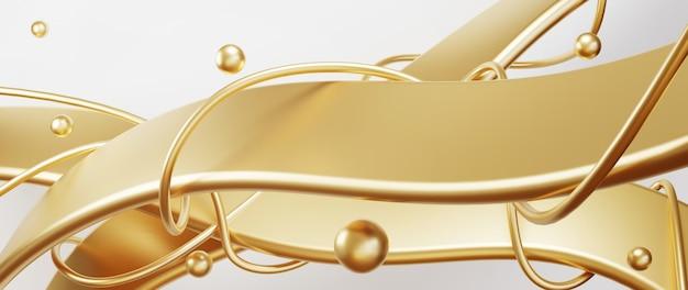 금색과 흰색 추상 아키텍처 배경의 3d 렌더링. 현대 기하학. 미래 기술 설계.