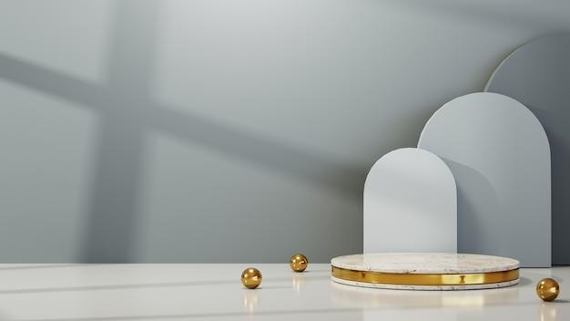 제품 배경을 표시하기 위한 골드 바 대리석 연단의 3d 렌더링. 쇼 제품에 대한 모형.