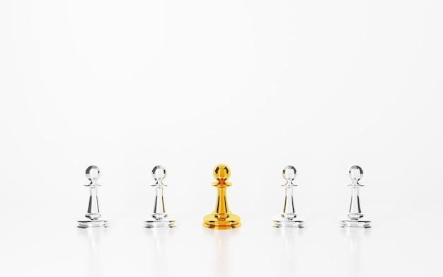 白い背景の上の群衆から目立つ金のチェスのポーンの3dレンダリング。優れたコンセプト。
